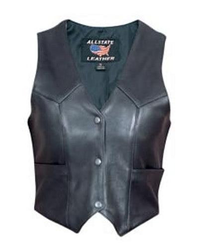 Women's Black Drum Dyed Naked Leather Motorcycle Vest