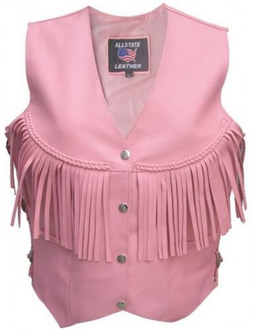 Women's Pink Leather Motorcycle Vest with Braid Trim and Fringes