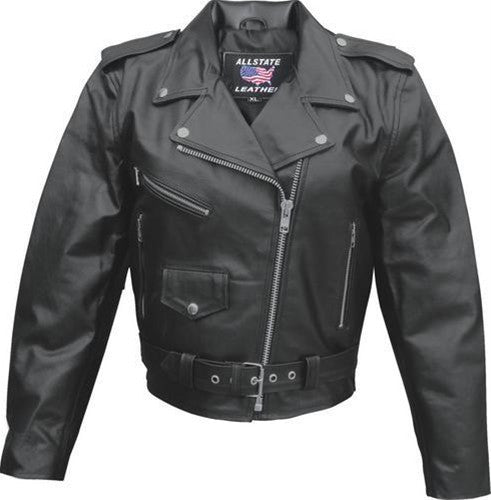 Women's Black Classic Split Leather Motorcycle Jacket