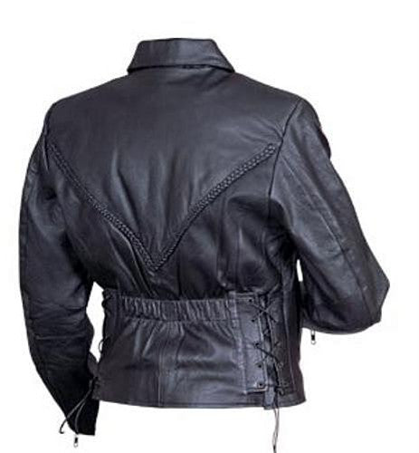 Women's Black Leather Motorcycle Jacket with Braids on Front and Back