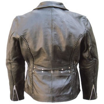 Women's Black Braided Leather Motorcycle Jacket with Studded Back