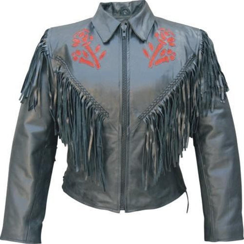 Women's Black Fringed Leather Motorcycle Jacket with Red Rose