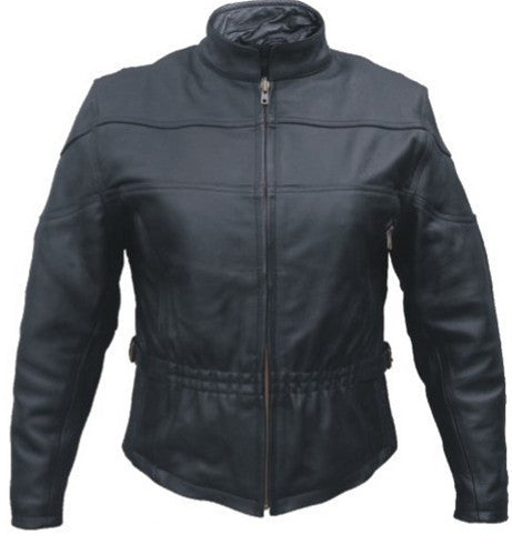 Women's Black Buffalo Leather Motorcycle Jacket Elastic Front and Back
