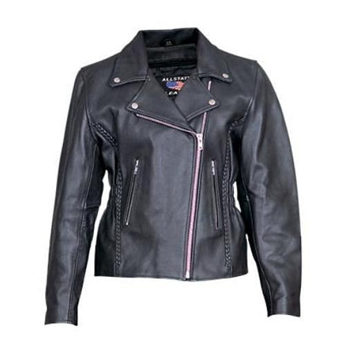 Women's Analine Leather Motorcycle Jacket with Studded Back and Vertical Braid