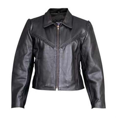 Women's Braided Analine Leather Motorcycle Jacket
