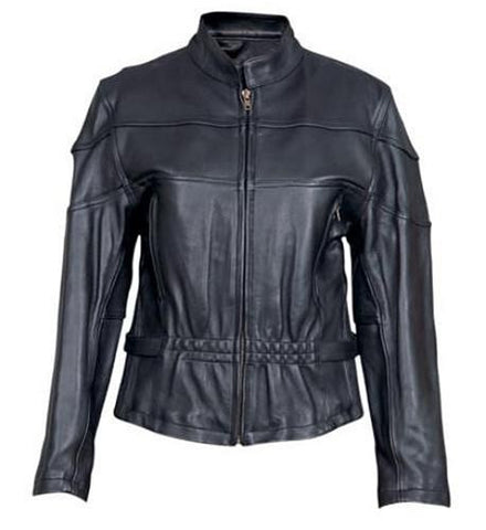 Women's Black Naked Leather Hourglass Motorcycle Jacket