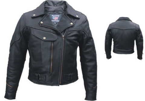 Women's Classic Black Naked Leather Motorcycle Jacket with Braid Trim