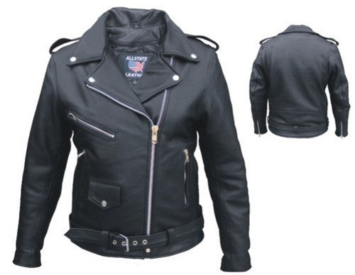 Women's Black Naked Leather Motorcycle Jacket with Silver Hardware