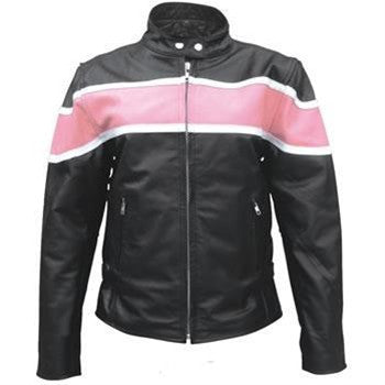 Ladies Pink Two Tone Riding Motorcycle Biker Jacket
