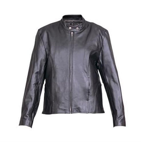 Women's Plain Black Leather Scooter Jacket Zip Out Liner