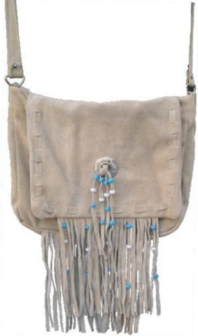 Ladies Light Brown Suede Leather Handbag with Fringes and Beads