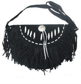 Ladies Western Style Black Suede Leather Handbag with Fringes and Bone
