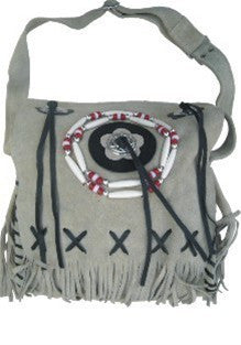 Ladies Western Handbag Light Tan Suede Leather with Beads & Fringes