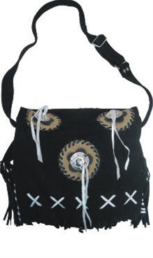 Ladies Western handbag Black suede leather with Bones, Fringes, Concho