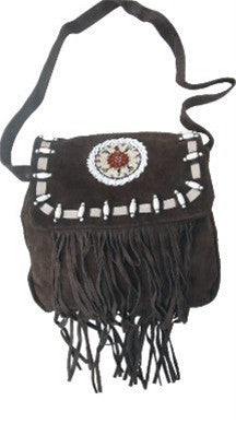 Ladies Western handbag Brown Suede Leather with Beads, Bone, & Fringes