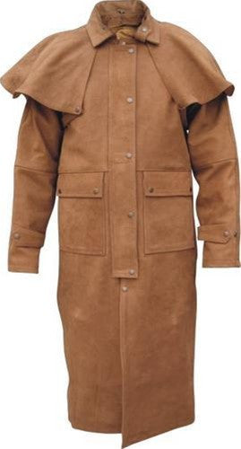 Men's Brown Leather Duster with Zip-Out Liner and Leg Straps
