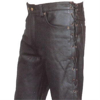 Men's Premium 5 Pocket Buffalo Leather Pants with Side Laces