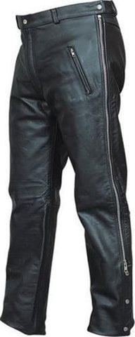 Men's Premium Buffalo Leather Pants with Side Zipper Elastic Waist