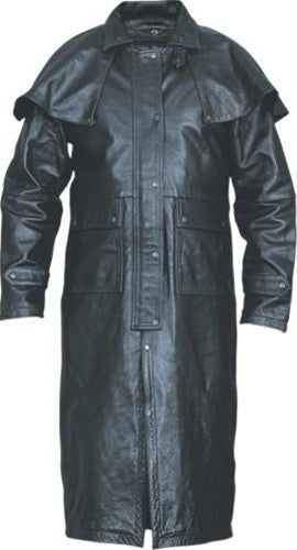 Men's Premium Black Buffalo Leather Western Duster