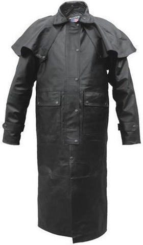 Men's Premium Black Split Cowhide Leather Western Duster