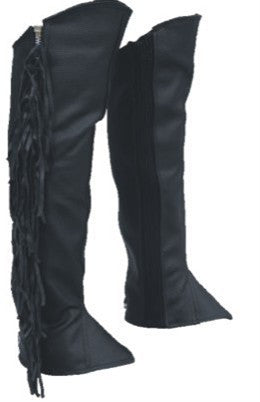 Fringed Leggings Half Chaps With Spandex Analine Cowhide