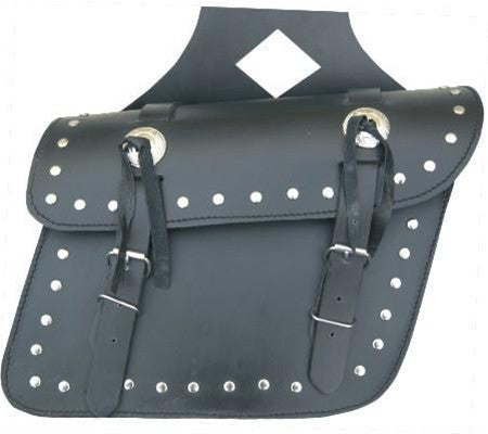 PVC Studded Throwover Motorcycle Saddlebags with Silver Conchos