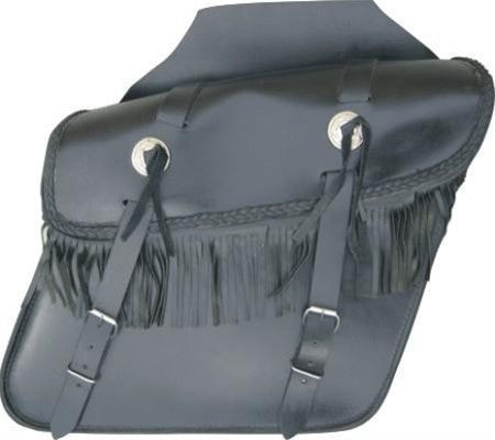 Leather Throwover Motorcycle Saddlebags with Fringes Silver Conchos