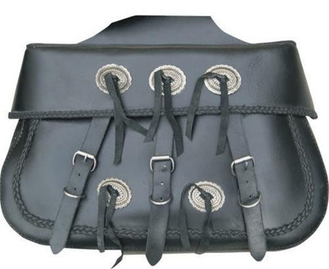PVC X-Large Braided Throw Over Saddlebags with Antique Silver Conchos