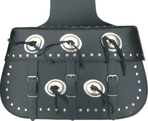 PVC X-Large Studded Throw Over Motorcycle Saddlebags with Silver Conchos