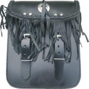 Leather Motorcycle Sissy Bar Bag with Fringes and Braids