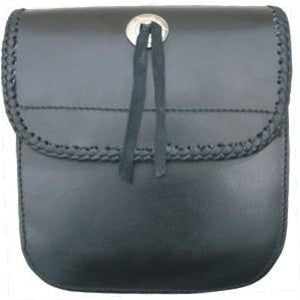 Leather Motorcycle Sissy bar bag with Laced Trim