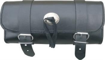 Small Leather Motorcycle Tool Bag with Silver Conchos and Studs or Fringes