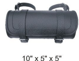 Plain Small Round Tool Bag with Pebble Grain Finish Cowhide Leather