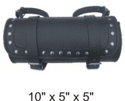 Studded Small Round Tool Bag with Pebble Grain Finish Cowhide Leather