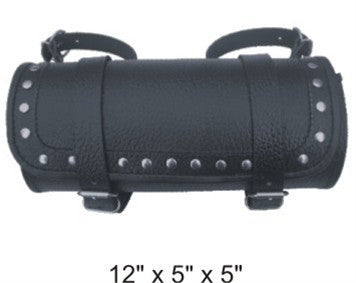 Studded Large Round Tool Bag with Pebble Grain Finish Cowhide Leather