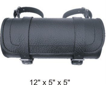 Plain Large Round Tool Bag with Pebble Grain Finish Cowhide Leather