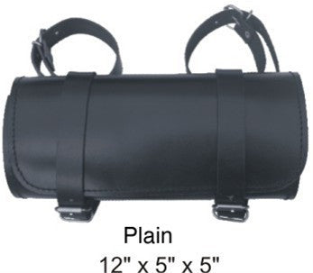 Large Round Tool Bag with Cowhide Leather Plain, Braided, Laced, Stud