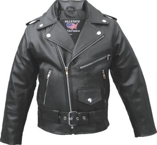 Children's Black Classic Leather Motorcycle Jacket