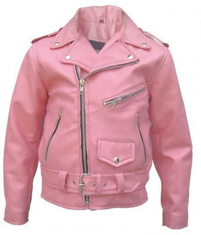 Children's Pink Classic Leather Motorcycle Jacket