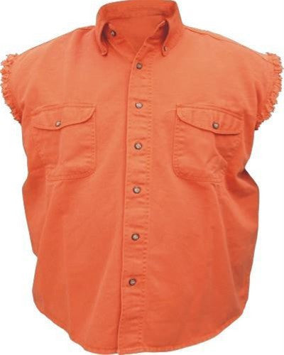 Men's Orange Sleeveless Shirt 100% Cotton Twill