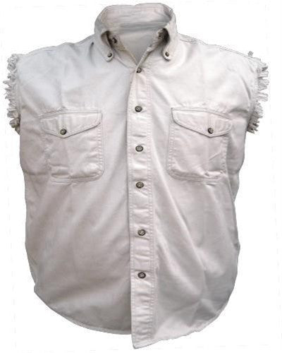 Men's Cream Sleeveless Shirt 100% Cotton Twill