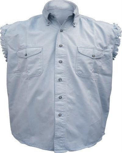 Men's Light Blue Sleeveless Shirt 100% Cotton Twill