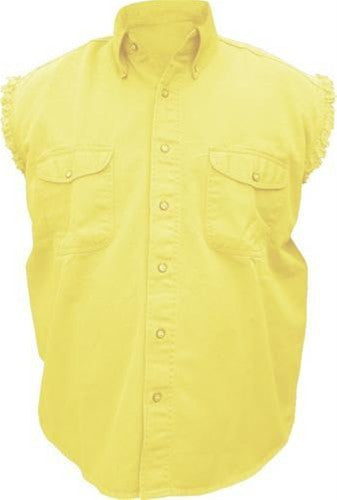 Men's Yellow Sleeveless Shirt 100% Cotton Twill