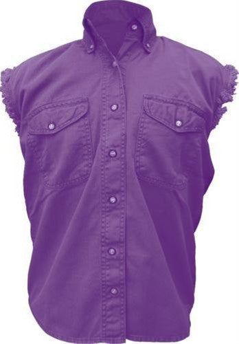 Women's Purple Sleeveless Shirt 100% Cotton Twill