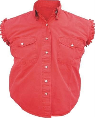Women's Red Sleeveless Shirt 100% Cotton Twill