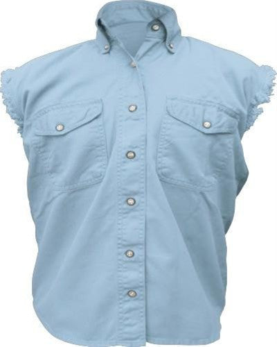 Women's Light Blue Sleeveless Shirt 100% Cotton Twill