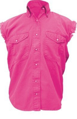 Women's Pink Sleeveless Shirt 100% Cotton Twill