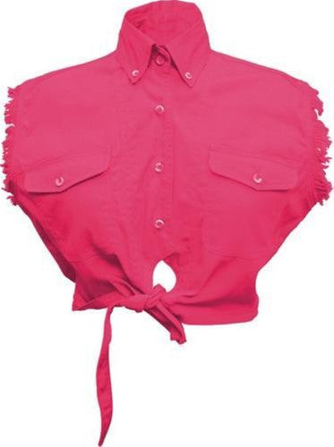 Ladies Sleeveless Tie-up Shirt 100% Cotton Twill Red