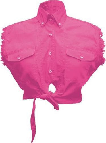 Ladies Sleeveless Tie-up Shirt 100% Cotton Twill Pink