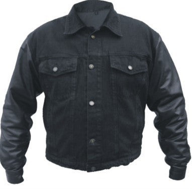 Men's Black 14 oz. Denim jacket with Leather sleeves